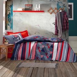 Lenjerie de pat pentru o persoana, 4 anotimpuri, The Riders - Red, Cotton Box, 3 piese, bumbac ranforce, rosu