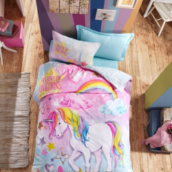 Lenjerie de pat pentru o persoana Dream, Cotton Box, 3 piese, 160 x 240 cm, 100% bumbac ranforce, multicolora