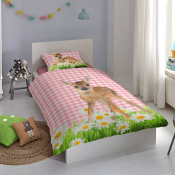 Lenjerie de pat pentru o persoana, Good Morning, Bambi, 100% bumbac, 2 piese, multicolor