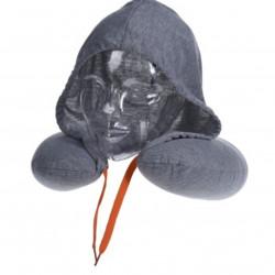 Perna pentru gat cu gluga, 30x32 cm, poliester, gri deschis