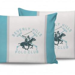 Set 2 fete de perna, 50x70 cm, 100% bumbac, Beverly Hills Polo Club, Alb/Turcoaz