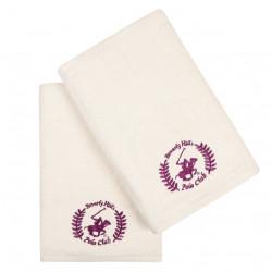 Set 2 prosoape de baie, Beverly Hills Polo Club, 402 Cream V01, 70 x 140 cm, 100% bumbac