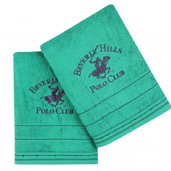 Set 2 prosoape de baie, Beverly Hills Polo Club, 403 Green,70 x 140 cm, 100% bumbac