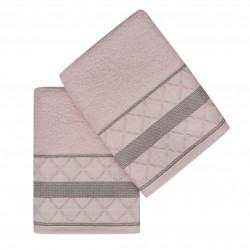 Set 2 prosoape de maini 50x90 cm, 100% bumbac, Soft Kiss, Kurdele Baklava, roz/gri