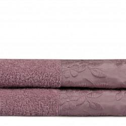 Set 2 prosoape de maini 50x90 cm, 100% bumbac, Soft Kiss, Pamela, lila