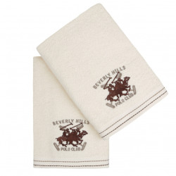 Set 2 prosoape de maini, Beverly Hills Polo Club, 401 - Cream, 50x90 cm, 100% bumbac, crem