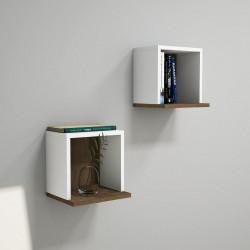 Set 2 rafturi pentru perete Sevima, Puqa Design, alb/aluna