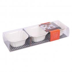 Set 3 boluri aperitive PRC 7317, portelan, 9.5 x 9.5 cm, alb