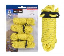 Set 4 corzi pentru prinderea corturilor, 380x0.4 cm, galben