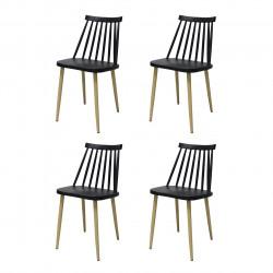 Set 4 scaune Moon, Heinner, plastic, negru
