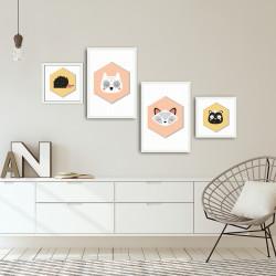 Set 4 tablouri decorative, Animals, Alpha Wall, 100% MDF, multicolor