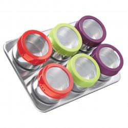 Set 6 recipiente condimente si suport magnetic Luigi Ferrero, FR-1306 CT, 100 ml