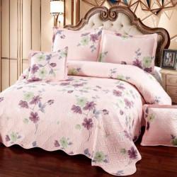 Set Cuvertura Bumbac + 4 Fete de Perne, Pink Flower