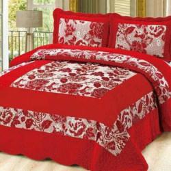 Set Cuvertura de Pat din Catifea + 2 Fete de Perna, Pat 2 Persoane, Red Roses - CCC-26