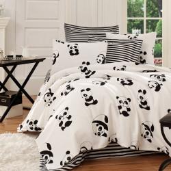 Set cuvertura de pat dubla, EnLora Home, Panda Black White, 4 piese, 100% bumbac, alb/negru