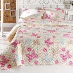 Set cuvertura de pat dubla matlasata, Eponj Home, Papillon Light Cream, 3 piese, 65% bumbac, 35% poliester, multicolor