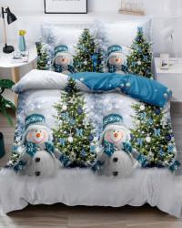 Set Lenjerie Crăciun, Bumbac Tip Finet, Cu Elastic, Pat 2 Persoane, Snowman and Trees, FNJEC-07