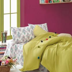 Set lenjerie de pat + cuvertura pentru o persoana Fancy Yellow, Cotton Box, 3 piese, 160 x 230 cm, 100% bumbac ranforce, galben