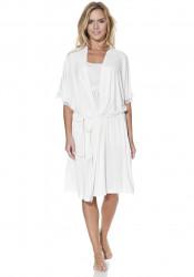 Set pijama cu pantaloni scurti si halat de casa, Luisa Moretti, LMS-1111, 100% bambus, crem, marimea 42/44 - L
