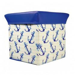 Taburet cu spatiu de depozitare Anchor, Jocca, 30 x 30 x 30 cm, PVC, bej/albastru