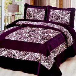 Set Cuvertura de Pat din Catifea + 2 Fete de Perna, Pat 2 Persoane, Dark Purple - CCC-27