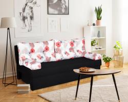 Canapea extensibila Alfi Anthracite 192x80x77 cm cu lada de depozitare, Roses Flower