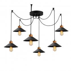 Candelabru Manavgat N-559, Noor, 100 x 144 cm, 6 x E27, 100W, negru