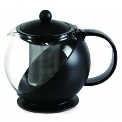 Ceainic cu infuzor Luigi Ferrero, FR-8125JS, sticla temperata/inox, 1.25 L, negru