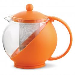 Ceainic cu infuzor Luigi Ferrero, FR-8125JS, sticla temperata/inox, 1.25 L, portocaliu
