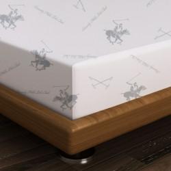 Cearceaf de pat pentru o persoana BHPC 025 - Green,180x240 cm, 100% bumbac ranforce, Beverly Hills Polo Club, alb/verde