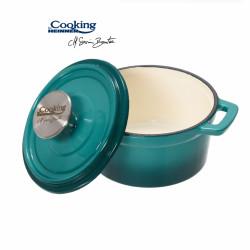 Cratita emailata, Cooking by Heinner, 0.8 l, fonta, bej si bleu