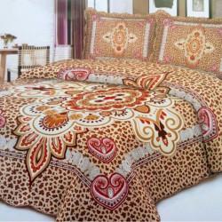 Cuvertura de pat + 2 Fete de Perne, Bumbac Tip Finet, Imprimata, Pat 2 persoane, CFI-13