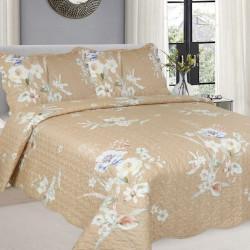 Cuvertura de pat + 2 Fete de Perne, Bumbac Tip Finet, Imprimata, Pat 2 persoane, CFI-91