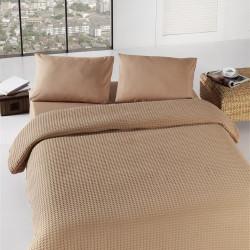 Cuvertura de pat, Eponj Home, Burumcuk Brown, 160x240 cm, 100% bumbac, maro