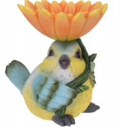 Decoratiune Bird with flower, 19x16x20.5 cm, polistone, portocaliu/galben