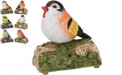 Decoratiune cu sunet Bird, 13.5x7x13 cm, polistone