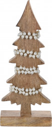 Decoratiune Xmas Tree w pearls , 13x6x31 cm, lemn de mango, alb/bej