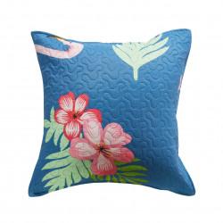 Fata de perna Flower, Fashion Goods, 45x45 cm, microfibra, albastru deschis/roz
