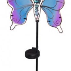 Lampa de gradina Butterfly, 25x9x105 cm, metal, albastru/mov