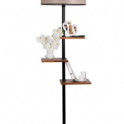 Lampadar cu 3 rafturi, Luin, 8270-8, E27, 60 W, metal/lemn/textil
