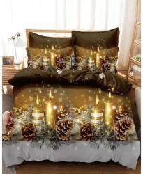 Lenjerie de Pat din Finet cu 2 Fete, 6 Piese, Pat 2 Persoane, Christmas Candle, FNJC-05