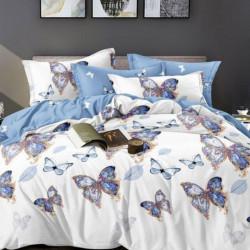 Lenjerie de Pat din Finet, Pat 2 Persoane, Blue Butterflies, FNJ-140