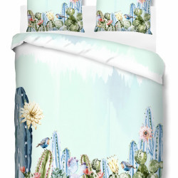 Lenjerie de pat dubla Cactus, Bedora, 4 piese, Bumbac Ranforce