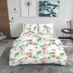 Lenjerie de pat dubla King Size, Garden, Bedora, 4 piese, 240x240 cm, 100% bumbac, multicolor