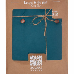 Lenjerie de pat dubla King Size, Heinner Blue, 100% bumbac organic, 4 piese, albastru