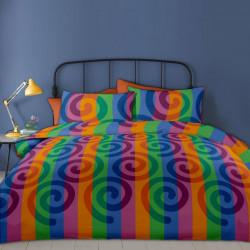 Lenjerie de pat dubla King Size RIU Rainbow Pumpkin, 6 piese, 220x250 cm, 100% bumbac, multicolora
