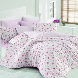 Lenjerie de pat dubla Pinky Pink, Majoli Home Collection, 4 piese, 200x220 cm, 100% bumbac ranforce, roz