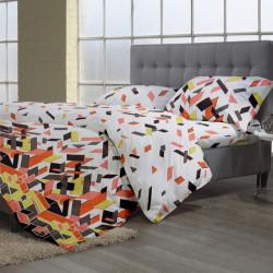 Lenjerie de pat dubla Puzzle Brown V.2, 4 piese, 220 x 230 cm, 100% bumbac, multicolora