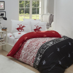 Lenjerie de pat pentru o persoana, 100% bumbac ranforce, Beverly Hills Polo Club, rosu/alb/gri