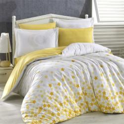 Lenjerie de pat pentru o persoana, 3 piese, 100% bumbac poplin, Hobby, Star's, alb/galben